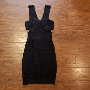 French Connection black bodycon cutout mini dress